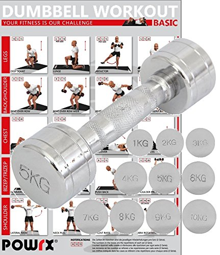 POWRX Chrom Hantel Einzeln | Kurzhantel Rutschfester gerändelter Griff | Für sicheres Fitness Kraft-Training | Verschiedene Gewichtsvarianten 1-30kg (5)