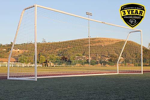 "G3ELITE Pro 24x8 Regulation Soccer Goal, (1) 3.5mm Net, Strongest Portable 2"" Diameter Galvanized Steel Post Design w/Extra Patented Corrosion Resistant Coating, 8'x24'x2'x4½' …"