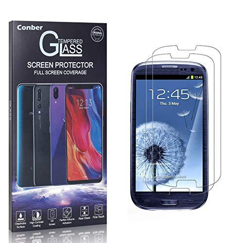 Conber Panzerglasfolie für Samsung Galaxy S3, [2 Stück] 9H gehärtes Glas, Blasenfrei, Kratzfest, Hochwertiger Hülle Freundllich Panzerglas Schutzfolie für Samsung Galaxy S3
