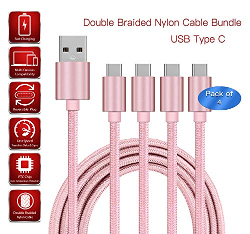 [4 PACK] 2m Rose Gold USB Type-C Cable Fast Charge Nylon Double Braided Strong Durable Anti-Twist | Charge, Transfer Data & Sync Cable Compatible For Apple iPad Pro 11 WiFi Cellular 256GB