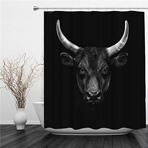 AIMILUX Duschvorhang 180x180cm,Bull Natur Nutztier Schwarz Camargue Bull Face Wild Beast Horn,Duschvorhang Wasserabweisend-Duschvorhangringen 12 Shower Curtain mit