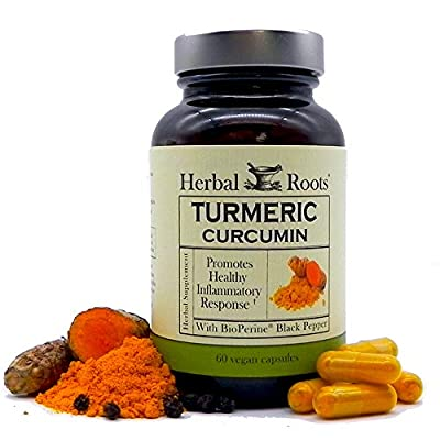 Herbal Roots Turmeric Curcumin Capsules - Extra Strength - 1300mg Pure Organic Turmeric Supplement, 95% Standardized Curcumin Extract with BioPerine Pepper and Ginger - Made in USA from Elite Source Products, Inc.