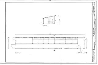 Historic Pictoric Blueprint Diagram Plan, Section - Gamble Ranch, Saddle Horse Barn, on Thousand Springs Creek, Elko, Elko County, NV 44in x 30in