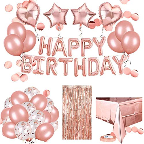 Rorchio Rose Gold Birthday Balloons Happy Birthday Balloons Garland, Latex, Confetti, Heart and Star Balloons, Disposable Tablecloth, Fringe Curtain and Balloon Ribbon for Girls Women