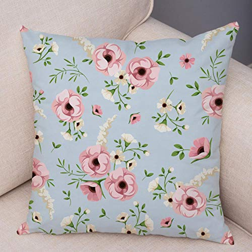 VJRQM pillow cases 2 pack sofa cushions pillow protectors Colorful Rose Flower Pillow Case Nordic Style Pillowcase Decor Patchwork Plant Floral Plush Cushion Cover for Car Sofa 18' x 18,17