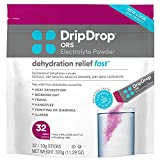 dehydration pack - DripDrop ORS – Patented Electrolyte Powder for Dehydration Relief Fast - For Workout, Hangover, Illness, Sweating & Travel Recovery - Berry - 32 x 8oz Servings