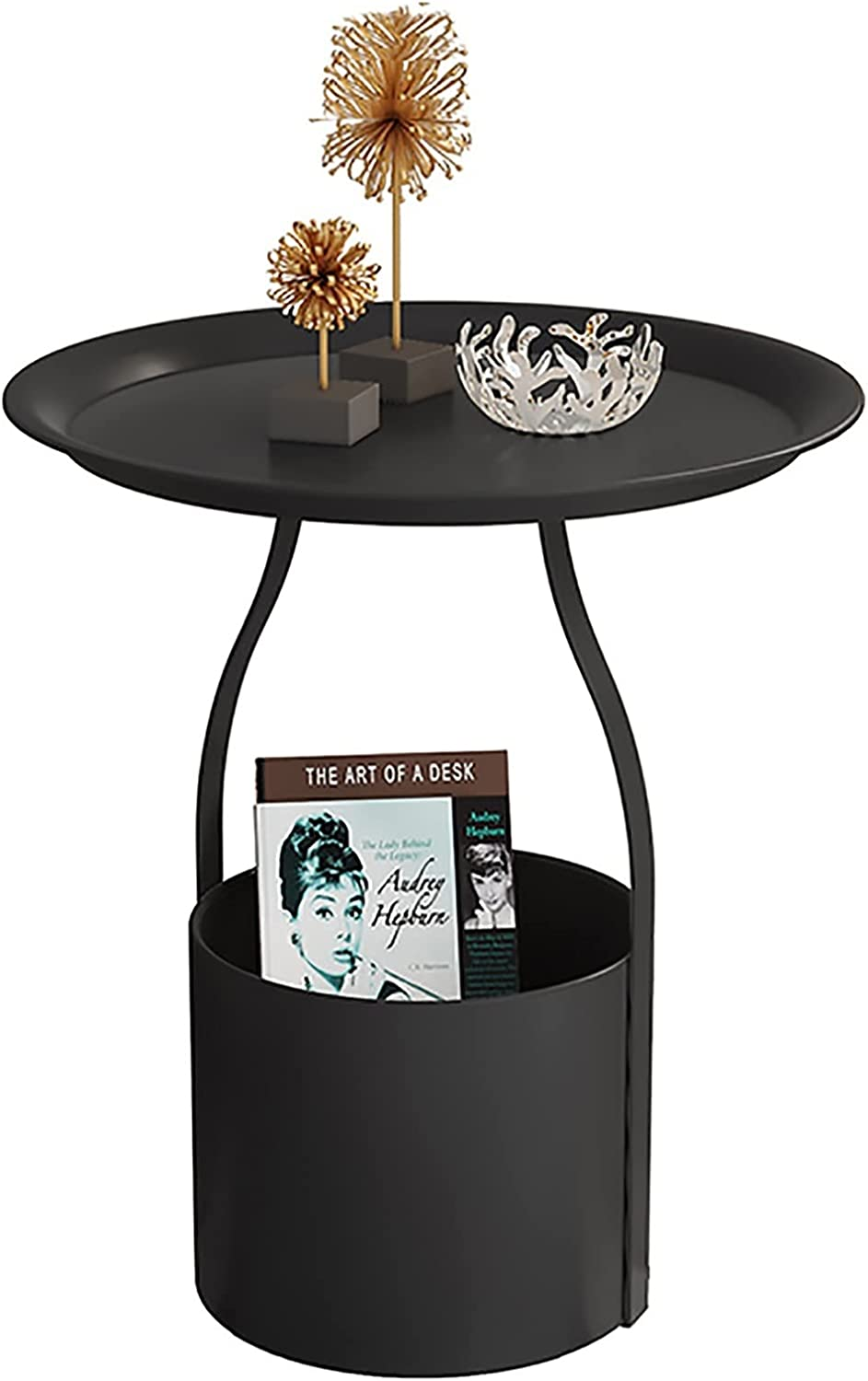 ZJMK Nightstands Side End Table with Long-awaited Tabl Luxury Metal Round Tray Sofa