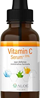 Vitamin C Serum for Face with Hyaluronic Acid, Vit E, Aloe Vera and Active Botanicals | Natural Anti-Aging Skin, Acne and Age Spot Repair Facial Serum (1oz)