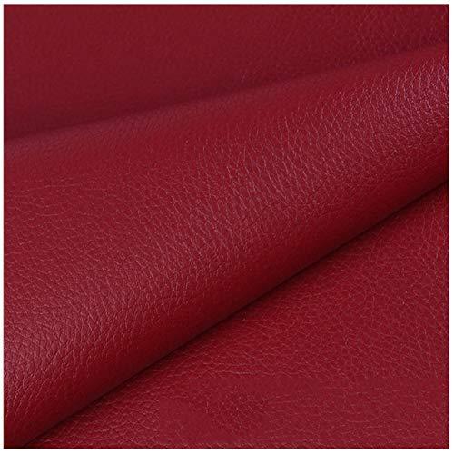SSYBDUAN Möbelstoff Premium Bezugsstoff Zum Kunstledergewebe 160 X 50 cm, Hochwertiges PU-Kunstleder Feuerhemmendes Wasserdichtes Kunstleder-Bastelmaterial (Color : 7# Wine red)