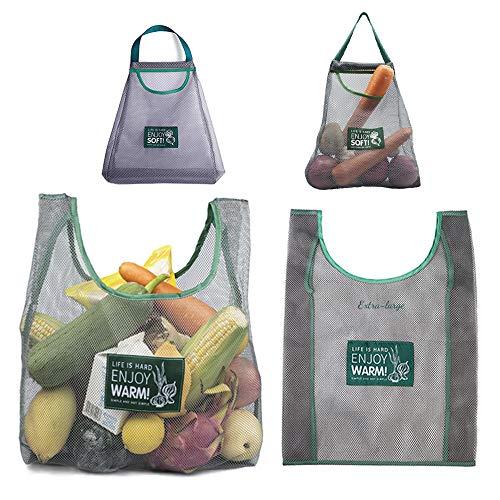 Auhota Einkaufstasche aus Netzstoff, wiederverwendbar, für Obst, umweltfreundlich, zum Aufhängen von Gemüse, waschbar, für Spielzeug, Kartoffeln, Zwiebeln, Küche, 4 Stück