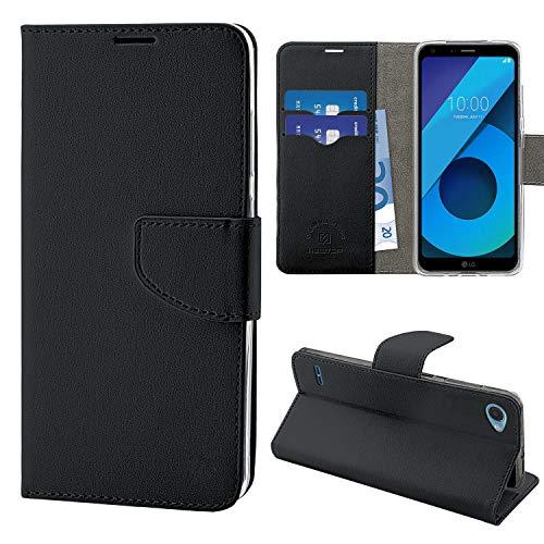 N Newtop Funda compatible para LG Q6, HQ Lateral Funda Libro Flip Cierre Magnético Billetera Simil Cuero Stand (Negro)