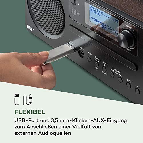 auna Worldwide CD - Internetradio, mit Bluetooth, DAB/DAB+, MP3-fähiger USB-Port, mit CD Player, Spotify Connect, AUX, App Control, Multiroom-Funktion, Timer, walnuss