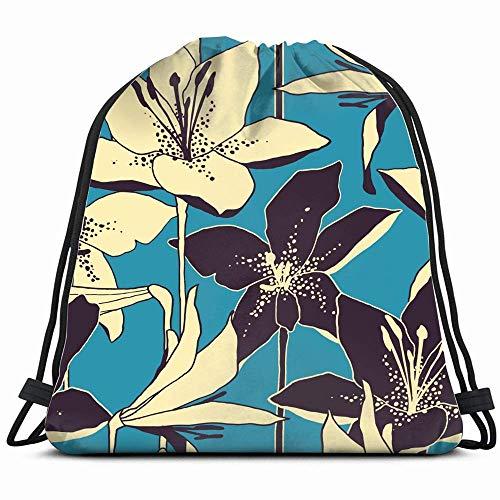 Rugzak met trekkoord, bloemenpatroon, handgeteken, retro-stijl, natuur, sporttas voor dames, heren, kinderen, grote maat met ritssluiting en netvakken voor waterflessen, 14 x 17 inch