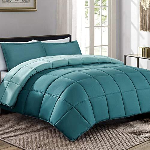 VEEYOO - Edredón nórdico de 10,5 tog para todas las estaciones, suave acolchado para cama king size – Edredón cálido hipoalergénico 3 piezas, color turquesa y verde azulado