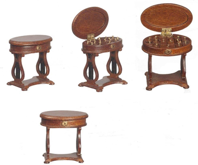 Melody Jane Puppenhaus 1 24 Viktorianisch Handarbeiten Nhen Box Beistelltisch JBM Mbel