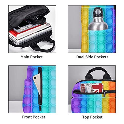 Rainbow-Pop-It - Bolsas para libros escolares para niñas y niños, unisex, correa de hombro ajustable