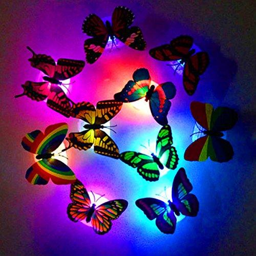 German-Trendseller ® - 6 x Papillons avec LED éclairage┃ LED décoration┃Ambiance ┃Changement de Couleurs┃ Surface adhérent