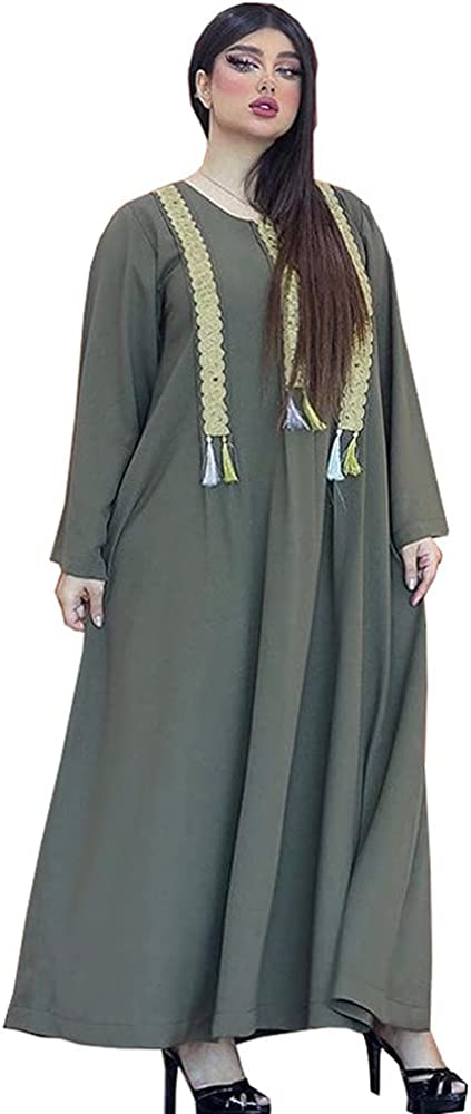 Tayaho Max 46% OFF Women's Summer Maxi Dress Embroidery Robe Limited Special Price Sequins Abaya D