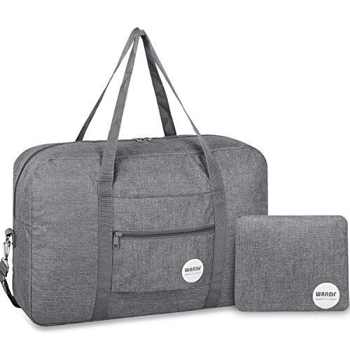 WANDF Leichter Faltbare Reise-Gepäck Handgepäck Duffel Taschen Übernachtung Taschen/Sporttasche für Reisen Sport Gym Urlaub Weekender handgepaeck (B - Hellgrau mit Schultergurtt)