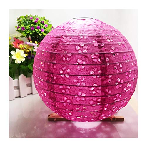 MUZIWENJU 20 cm 25 cm 30 cm 40 cm Aushöhlen Papier Laterne Ballon Chinesische runde Papier Laterne Ball Lampion for Festival Hochzeitsfest Dekor (Farbe : Hollow Out Rose, Lantern Size : 10inch 25cm)
