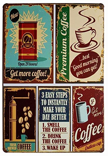 ARTCLUB Premium Coffee Best Good Morning Retro Metal Tin Sign, Antique Plaque Poster Cafe Home Kitchen Wall Decor