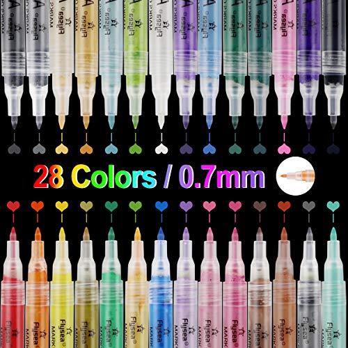 Nasharia Acrylstifte Marker Stifte, 28 Farben 0.7mm Acrylstifte Feine Spitze Wasserfeste Stifte Marker Paint Pen für Steine Schwarzes Papier Glas Kunststoff Keramik Metall Holz DIY Fotoalbum