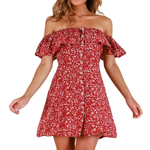 Kleid Damen Kolylong Frauen elegant aus Schulter Blumen gedruckt Kleid Minikleid Party Kleid...
