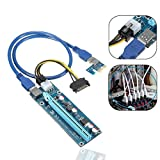 (6 Pack) 6-pin Powered PCI-E PCI Express Riser – ver-006 C – 1 x zu 16 x PCIe USB 3.0 Adapter Karte – mit USB Verlängerungskabel – GPU Grafikkarte Crypto Währung Bergbau - 7