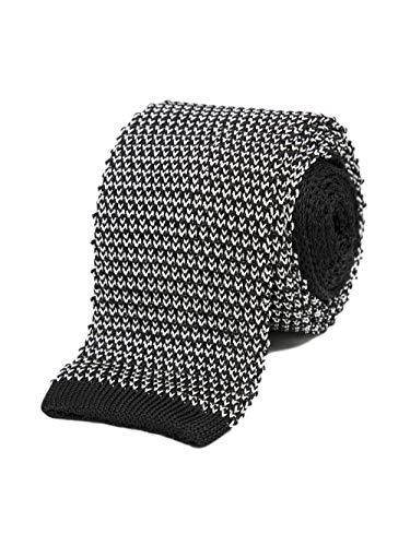 Bruce Field - Cravate fine en maille tricot de soie marron et écru