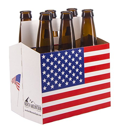 North Mountain Supply 6 Pack 12oz Beer & Soda Bottle Carrier - American Flag Design - Pack of 5