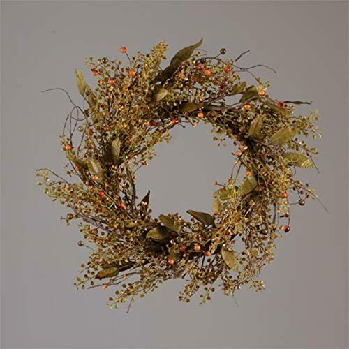 TAKAZOON Floral Décor Supplies for Primitive Fall Thanksgiving Orange Bittersweet Berry Baby Grass Vine Wreath for Primitive Fall Decor, Christmas Decorations.