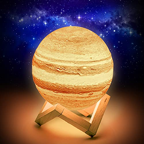 Planeten Lampe,15CM Jupiter Lampe,Planeten Deko 16 Farben, Led Planet mit Holzständer und Aufhängenetz, Fernbedienung und Touch-Steuerung, Planeten Modell und Planeten Kinder