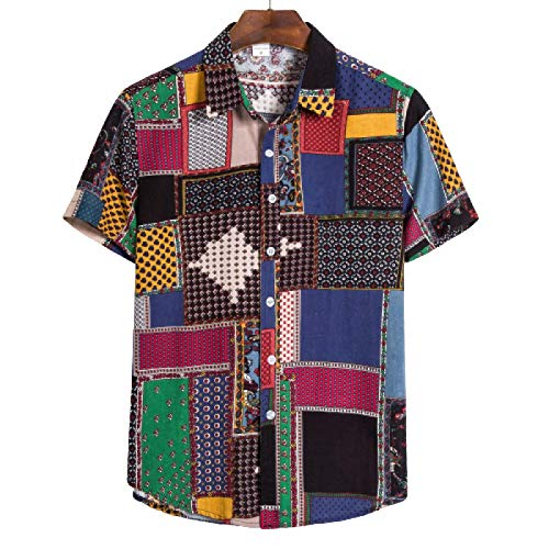 Camisas de Verano para Hombres Costura Bloqueo de Color Ajuste Regular Estilo étnico Diseño Creativo Camisas Casuales de Manga Corta 5X-Large