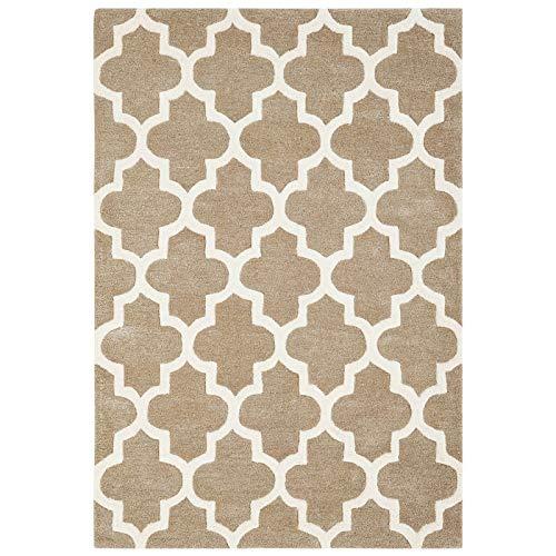 Arabesque Alfombra grande pequeña y mediana de diseño moderno para sala de estar, dormitorio, no se desprende, alfombra contemporánea de 160 x 230 cm, color beige y viscosa