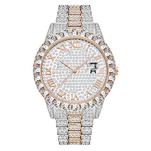 XXLL Reloj para Hombre Reloj Hip Hop Full Drill Bling Dial con Cristales simulados Moda empresarial Reloj Impermeable,4