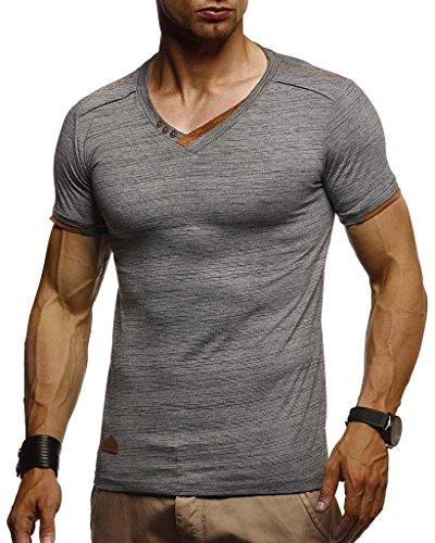 Leif Nelson Herren Sommer T-Shirt V-Ausschnitt Slim Fit Baumwolle-Anteil Moderner Männer T-Shirt V-Neck Hoodie-Sweatshirt Kurzarm lang LN1355 Anthrazit Medium