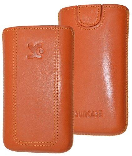 Original Suncase Tasche für / Emporia PURE / Leder Etui Handytasche Ledertasche Schutzhülle Hülle Hülle - Lasche mit Rückzugfunktion* in orange