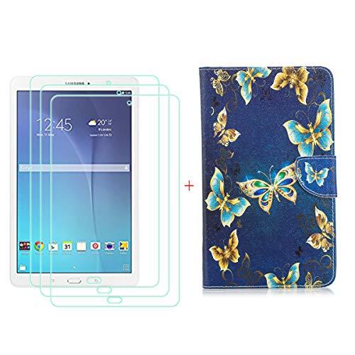"""szjckj 3 Piezas Protector de Pantalla + PU Carcasa para Samsung Galaxy Tab E SM-T560 (9,6"""") Tablet, Funda Protectora con Función de Soporte - HD Cristal Vidrio Templado Protector - LW52"""