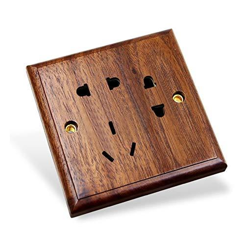 Foicags Panel de conmutación 86 Tipo Negro Walnut Hotel Retro Hogar oculto Pared de pared Interruptor de madera maciza Interruptor de palanca de personalidad (Color : 7 holes)