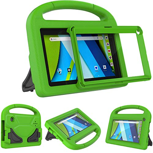 AVAWO Kids Case for RCA Voyager 7 Tablet, RCA Voyager 7 inch Tablet case - with Built-in Screen Protector - Shockproof Light Weight Stand Case for 7inch RCA Voyager I/II/III/Pro Android Tablet, Green