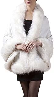 Weixinbuy Women Winter Warm Fluffy Faux Fur Coat Capes Wedding Dress Shawl Cape Shaggy Coat Outerwear for Women