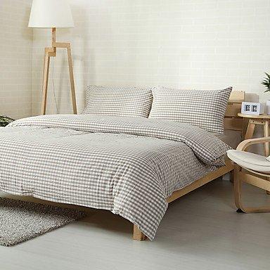 ZYT Plaid beige lavé coton literie ensembles 2places taille linge 4pcs couette couverture ensemble . king