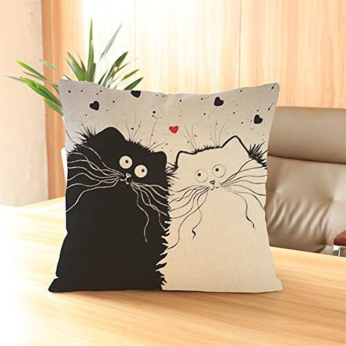 YUTING Gato Negro De Algodón Y Lino Impresión Almohada Comercio Exterior Decoración del Hogar De Lino del Amortiguador del Sofá (Color : C)