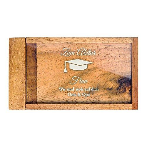 Casa Vivente Magische Geldgeschenkbox mit Gravur zum Abitur, Motiv Hut, Personalisiert mit Namen, Knobelspiel, Verpackung für Geldgeschenke