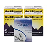 GenUltimate Blood Glucose Test Strips Count for Use with One Touch Ultra, Ultra 2 and Ultra Mini Meter,50 Count Strips with 100 Lancets by Diasta (200 Test Strips 100 Lancents)