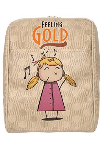DOGO Damen Rucksack - kleiner Tagesrucksack - veganes Leder - Smally Bag - Feeling Gold
