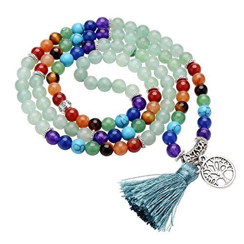 Jovivi joyas piedras Natural collar pulsera retro tibetano Buda india Ágata Mala Recuperación Energía Terapia rezando Yoga 7Chakra pulsera elástica–Árbol de la vida Avventurina Verde
