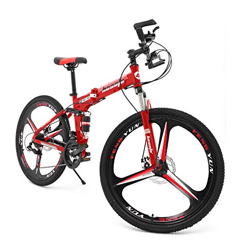 hosote 26 Inch Folding Mountain Bike, Full Suspension 3-Spoke Mountain Bicycle, 21 Speed Dual Disc Brake MTB Bikes for Adults and Teens [US in Stock]