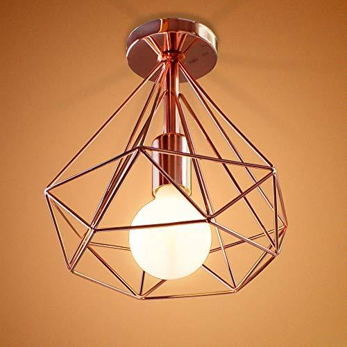 Retro Deckenleuchte Industrie Metall Deckenlampe Edison E27 Loft Wohnzimmer Schlafzimmer Restaurant Korridor Cafe bar 40W,Roségold