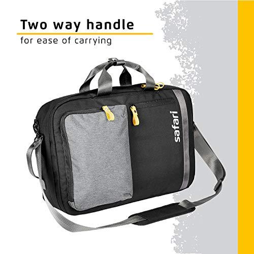 Safari Sirius Two Way Laptop Backpack Cum Satchel (SIRIUS19CBBLK_Black)
